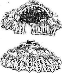 Рис. 12. Реконструкция жилищ, сооруженных из костей мамонтов
